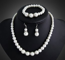 Wholesale Costume Jewelry Pearl Bracelets - Imitation Pearl Silver Plated Clear Crystal Necklace Earrings Bracelet Sets Top Party Gift Fashion Costume Pearl Jewelry Sets DB