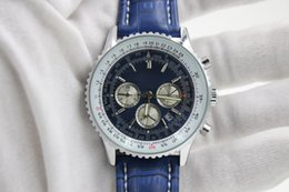 Wholesale Navitimer Automatic - good Quality New Brand automatic Men's Wristwatch NAVITIMER Ti3 Blue Dial Blue Leather 1884 watch