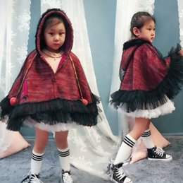 Wholesale Children Girl Hooded Sweater - Girls sweater cloaks children knitting hooded cute pompon princess shawl coat winter kids double gauze falbala poncho capes R1057