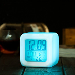 Wholesale Clock 12v - pressure release led mood lamp with alarm clock date information cartoon kids bedside lamp toy birthday gift
