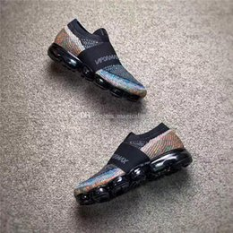 Wholesale Woven Genuine Leather - VaporMax Multicolor Limited Women Men Running Seakers Original Black And Colorful Outdoor Shoe Fashion Knitting Weaving Shoes With Box
