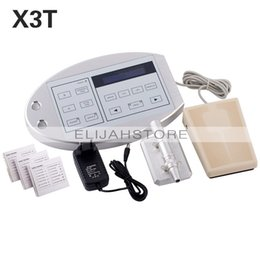 Wholesale Top Quality Tattoo Needles - Top Quality Professional Permanent Eyebrow Makeup Body Tattoo Kit Rotary Machine LCD Controller Needles Pedal Power Supply X3T