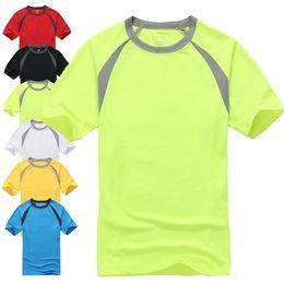 Wholesale Fluorescent Shorts Women - Outdoor quick-drying wicking men's sports t-shirt T-shirt men speed drying men and women fluorescent color round neck short sleeve t-shirt
