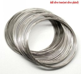 Wholesale Memory Steel Wire - Retail 200 Loops Silver Tone Memory Beading Steel Wire 80mm-85mm Dia.