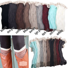 Wholesale Girls Crochet Knit Boots - Mic Women's girls Knit Crochet Boot Legwarmers Knited Lace Crochet Boot Cuff- Fall Style 9 colors
