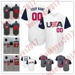 Wholesale usa baseball - Hot Sale Custom Mens Womens Youth 2017 Team USA Stitched Any Name Number Jones Arenado Stanton White Gray Cheap Baseball Jersey