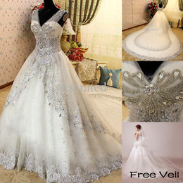 Wholesale Bridal Veils Crystals - 2016 New Luxury Crystal Zuhair Murad Wedding Dresses Lace V Neck Sheer Strap SWAROVSKI Bridal Gowns Cathedral Train Free Petticoat Free Veil