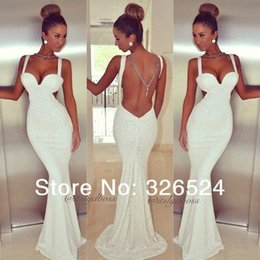 Wholesale Shining Homecoming Dress - 2015 white backless Mermaid Party Prom Dresses Sexy Beach Sweetheart Long Floor Length Homecoming Dress Shining Sequin Evening Gowns BO4919