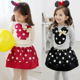 Wholesale Wholesale Clothing Dress Shirts - Minnies mouse clothing girls spring sets long sleeve dots T-shirt+short skirts 2pcs baby girl's dresses children outfits kids clothes