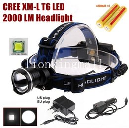 Wholesale Red Car Headlights - AloneFire HP87 Cree XM-L T6 LED Zoom Headlamp Headlight With 2 x18650 rechargeable battery AC charger car charger -black, Blue, red