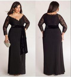 2019 vestido de tafetán alfombra roja Negro más el tamaño de la manga del cordón largo de la envoltura de la gasa vestidos de noche escote en V con terciopelo Sash piso de longitud ocasión especial Vestidos vestido de fiesta