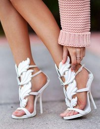 Wholesale Silver Strappy Wedding High Heels - 2018 Hot Sale Golden Metal Wings Leaf Strappy Dress Sandal White Gold Red Gladiator High Heels Shoes Women Metallic Winged Sandals