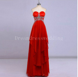 Wholesale Knitted Dress Pregnant - Long Red Evening Dresses 2016 for Pregnant Formal Dresses Long Evening Gowns Elegant Crystal Beaded Sweetheart Chiffon dresses party evening