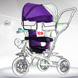 Wholesale Baby Tricycles - Genuine baby stroller a button to rotate children's tricycle driver 1-3 4 year old baby stroller baby stroller