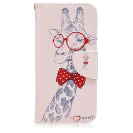 Wholesale Print Love Cards - Fashion Printing I Love Giraffe Flip Case Pocket Stand Protective Case With Wallet Magnet Case For Samsung Galaxy S7edge iPhone 6s