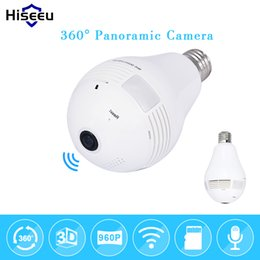 Wholesale Wired Mini Bulb - Bulb Light Wireless IP Camera Wi-fi FishEye 960P 360 degree Full View Mini CCTV Camera 1.3MP Home Security WiFi Camera Panoramic