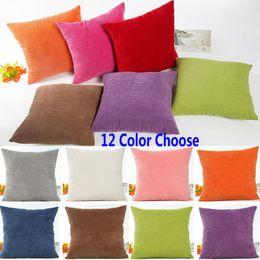 Wholesale Velvet Decorative Cushions - 45*45cm Plush Velvet Pillow Case Striped Corduroy Plush Velvet Cushion Cover For Sofa Cream Cheese Home Solid XMAS Decorative XL-374