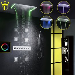 Wholesale Wall Faucet Waterfall Shower - DISGOD Bathroom Shower Set Accessories Thermostatic Mixer Tap Touch Panel LED Shower Head Waterfall Rainfall Bath Shower Faucet