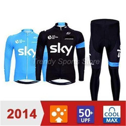 Wholesale Sky Cycling Jersey Blue - sky hot sale men winter autumn warm cycling Jersey sets with long sleeve bike top & (bib) pants in cycling clothing, bicycle wear