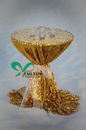 Wholesale White Table Cloth Round - Gold Sequin Fabric Cocktail Table Cover \ Table Cloth