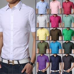 Wholesale Mens Army Dress Shorts - 2015 Spring Brand Mens Short Sleeve Dress Shirts Men Fashion Casual slim fit Men's Shirts 17 COLOR