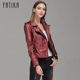 Wholesale Casual Belts For Shorts - Wholesale- FATIKA 2017 Autumn Winter Fashion Women Faux Leather Jackets and Coats Pockets Zipper Belted Motorcycle Jacket Outwear For Woman