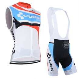 Wholesale Maillot Cube - Best selling 2014 CUBE summer male cycling clothing Sleeveless Jersey+Bib Short Tights ,ciclismo maillot Cycling vest sportswear 3D pads