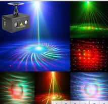 Бесплатная доставка горячий творческий 20 Gobos пульт дистанционного управления профессиональный 2 головки RG лазер синий LED Minilaser этап света мини-партии свет от