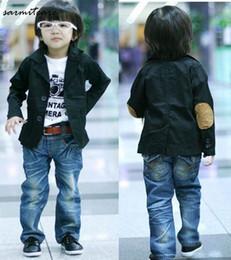 Wholesale Babies Blazers - 2016 Retail 3T - 10 years' Blue Black Cotton Boy Suit Boy's Outwear Boys Casual Blazer Kids Blazer Boys Baby Blazer Boys Suits