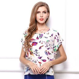 Wholesale Long Sleeve Casual Blouse Patterns - 2016 New Women Crew Neck Sleeveless Chiffon Top Shirt T-shirt Lady Girl Spring Summer Uniform Women Bird Pattern Casual Women's Short Blouse