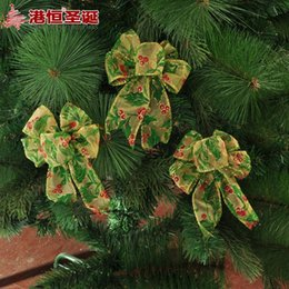 Wholesale Christmas Tree Decorating Ribbon - christma ornament crafts decorated Christmas tree pendant 11 x12cm green five ear ribbon bow 27 g (3) party supplies