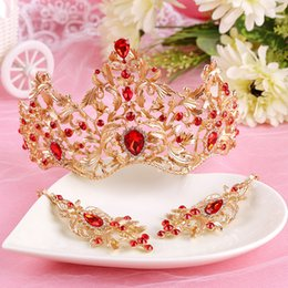 Wholesale Ruby Drop Vintage Earrings - Gold Wedding Jewelry Sets Crown And Earrings Red Crystal Princess Quinceanera Dress Headbands Charming Vintage Free Shipping WWL