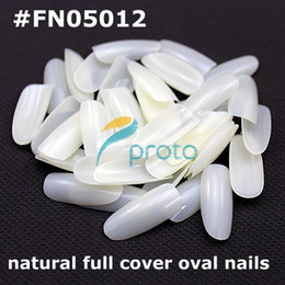 Wholesale Oval Tip Acrylic Nails - 500 Oval natural french nail art fullwell fake tips full cover acrylic nails Retail