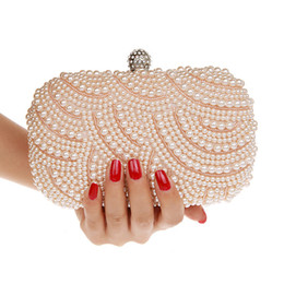 Wholesale Elegant Evening Clutch Bags - 2015 Luxury Double Side Beaded Lady Cultch Pearl Elegant Women Evening Bag Gorgeous Party Handbag Bridal Wedding Purse With Chains WI74