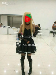 Wholesale Misa Death Note Cosplay Costume - Wholesale-Death Note Misa Amane Black dress with gloves stockings neckwear Cosplay Costume