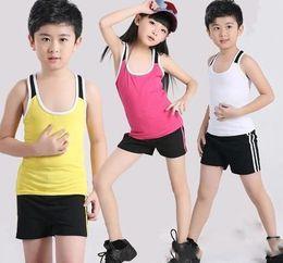 Wholesale Kids Aerobics - Best selling new Cotton Aerobics Sleevelss Sport Slim Calisthenics Elastic Children Clothing Tshirt Pants Kids Tank Top Vest Shorts Oufits