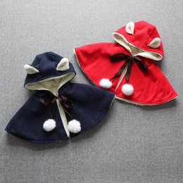 Wholesale Hooded Warm Poncho - 2016 Christmas girl children hooded poncho winter warm red blue cartoon Ear Cape coat kids christmas clothing E215
