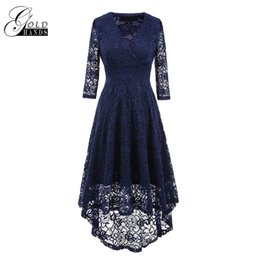 Wholesale Womens Dresses Three Quarter Sleeve - Gold Hands Womens Lace Maxi Dress Vintage V-neck Slim Sexy Three Quarter Sleeve Basic Hollow Out Famale Party Irregular Dress