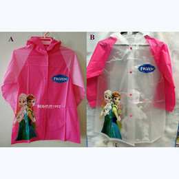 Wholesale Princess Kids Raincoats - Frozen Kids Raincoat Children Rain Cape Cartoon Pattern Elsa Anna Princess Kids Child PVC Hooded Rain Coat Rainwear 2 Styles High Quality