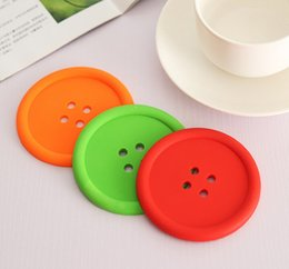 Wholesale Tea Coasters Designs - Sweet Candy Colors Button Design Coffee Cup PAD MAT Round Protective Tea Coffee Cup Coaster Cup Mat Pad 30pcs Free Shipping