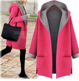 Wholesale ladies hooded wool coats - women simulation wool coat ladies plus size outerwear simple fashion loose collection 5 sizes 2 colors