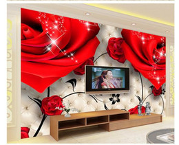 Wholesale Red Murals - Customize 3D rose red wallpaper wall sticker wallpapers mural wallpaper non wvoen wallpaper factory direct20152323