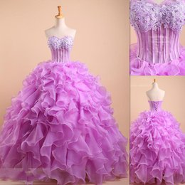 Wholesale Corset Style Party Dresses - Vestido De Debutante Lavender Quinceanera Dresses Ball Gowns Illusion Corset Organza Sweetheart Party Dress Puffy Style 2016 Custom Made