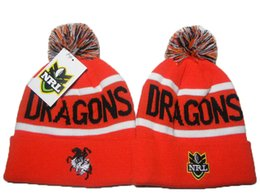 Wholesale Nrl Sports Beanie - St George Illawarra Dragon Red NRL Beanies Hats Ski Snow Football Basketball Baseball Sports Pom Knit Beanies Caps for Men Women DDMY