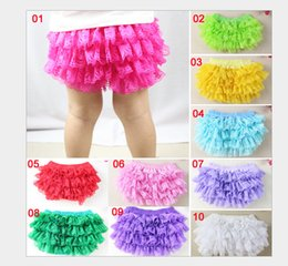 Wholesale Wholesale Bloomers Diaper Covers - 11 colors Baby Girls Lace TUTU Bloomers Cute Kids Short Girls Pettiskirt tutus underwear pants Infant Ruffle Diaper Cover Children Clothing