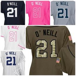 Wholesale Size 21 - 2017 Womens New York Jerseys 21 Paul O'Neill Baseball Jerseys Ladies Shirt White Blue Grey Pink Fashion Stitched Size S-XL