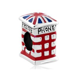 Wholesale British Holidays - Enamel Jewelry Metal British Flag Phone Booth Lucky Charms Silver Plated Beads Fits for European Fashion Women Bracelets