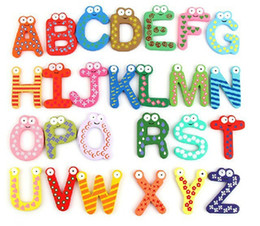 Wholesale Alphabet Magnets Children - Vintage Toys Woody Toys Vintage Toys Capital Letters with Wooden Cartoon Kids Woody Cartoon Refrigerator Alphanumeric Fridge Magnets