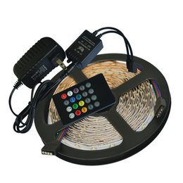 Wholesale Led Music Controller Power - Waterproof RGB LED Strip 5M 300Leds SMD3528 Music Controller 12V 2A Power Adapter Flexible Light Led Tape Home Decoration Lamps