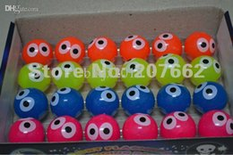 Wholesale Light Up Eyes Halloween - Wholesale-Free shipping 48pcs lot 4cm rubber color changing light up bouncy ball with eye led flashing toy for children